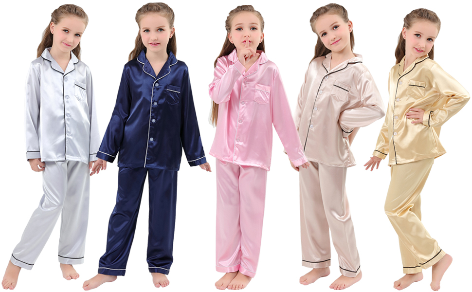 68e1f3d932 JOYTTON Kids Satin Pajamas Set PJS Long Sleeve Button-Down Sleepwear  Loungewear