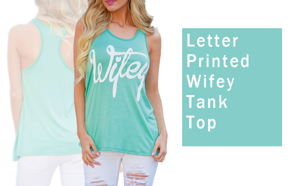 99829af6933ca9 Amazon.com  Mansy Women s Letter printed Wifey Tank Top  Clothing