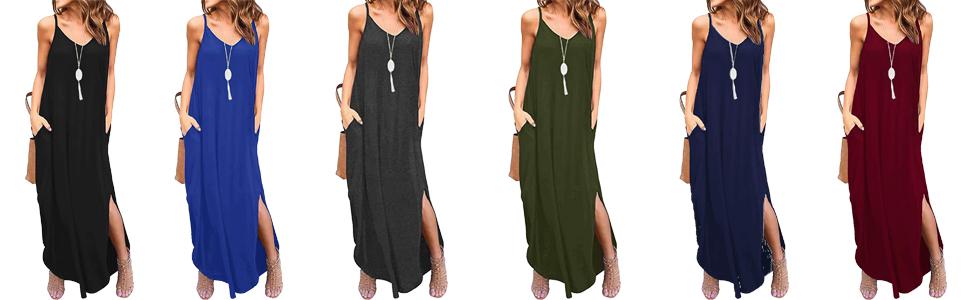 Amazon.com: Mansy Vestido largo de verano con bolsillos ...