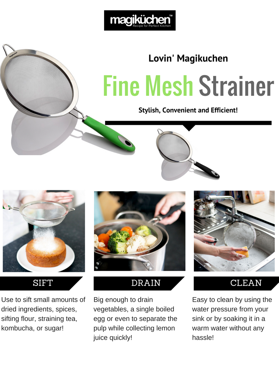 Magikuchen 8 premium stainless steel colander for Perfect kitchen description