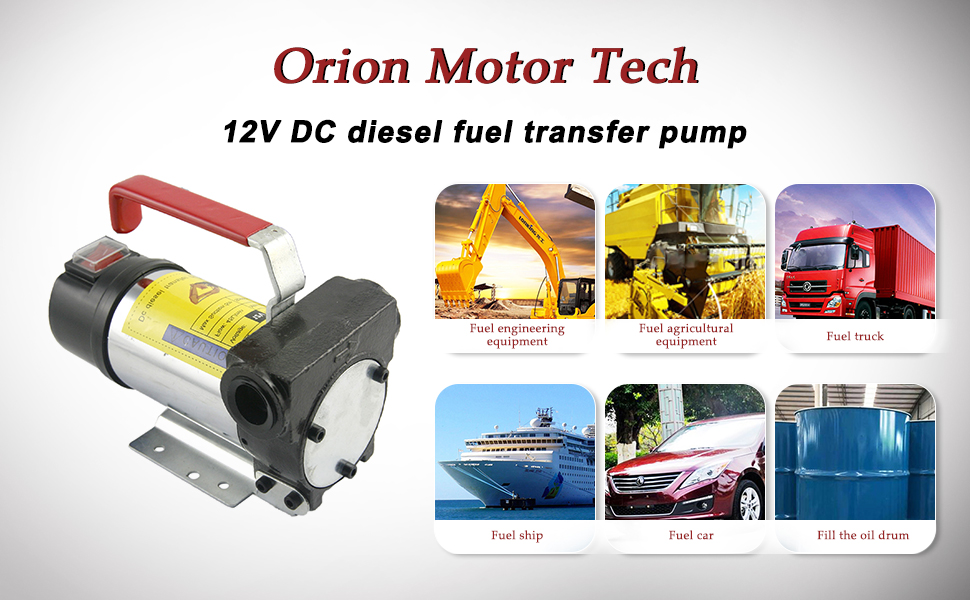 Orion Motor Tech 12V Bio Diesel Kerosene Fuel Transfer Pump Kit Nozzle Dispenser