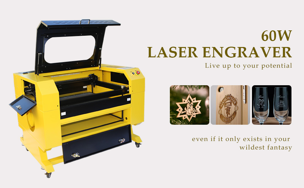Orion Motor Tech Premium High Precision 60W CO2 Laser Engraver Cutting and  Engraving Machine w/USB Interface for Crafting Designing DIY