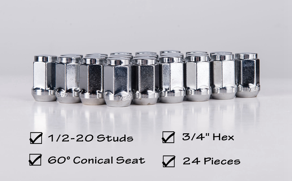 20pcs 1.87 Chrome 1//2-20 UNF Wheel Lug Nuts fit 1995 Jeep Wrangler May Fit OEM Rims Buyer Needs to Review The spec