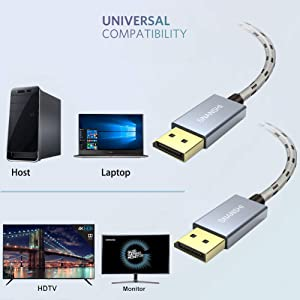 SNANSHI SNDP4K6 DisplayPort Cable 6 ft 4K@60Hz, 2K@144Hz Display Port Cable Ultra High Speed DisplayPort to DisplayPort Cable for Laptop PC TV -Grey 4K DP to DP Cable Nylon Braided -