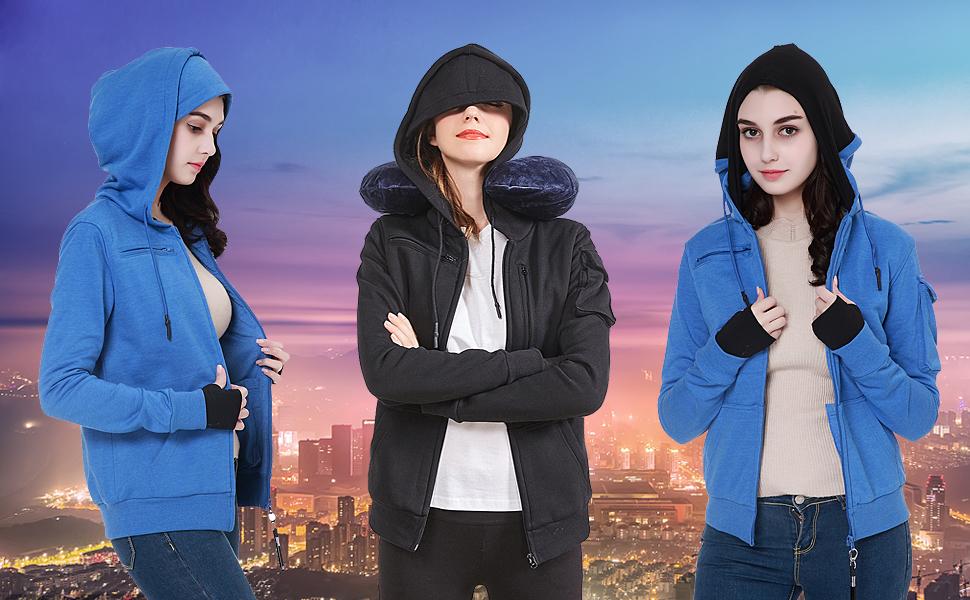 Amazon.com: Bombax 10 Pocket Womens Sudaderas Hoodies cierre ...