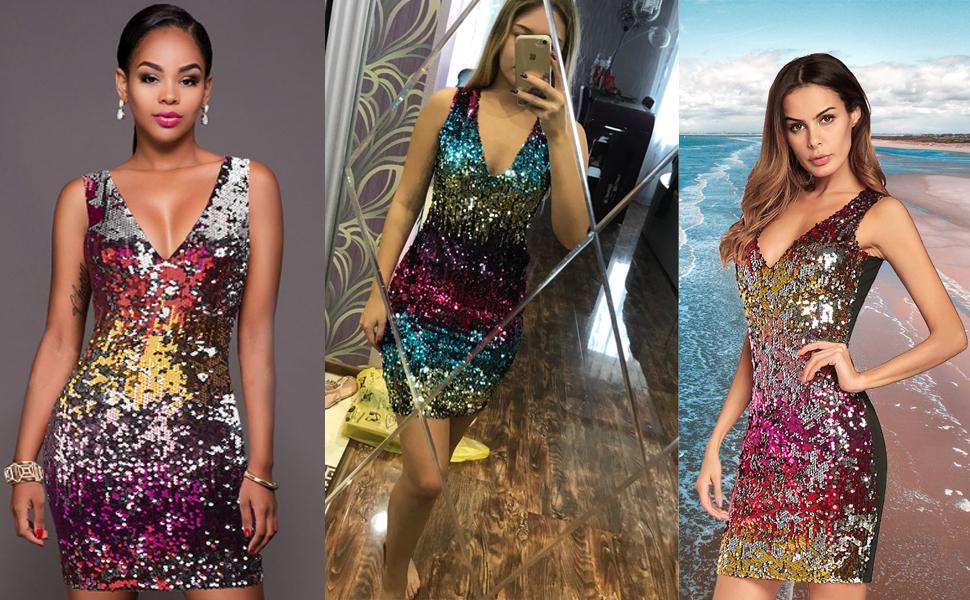 05554e30a BOMBAX Women Sexy V-Neck Bodycon Dress Sparkly Sequin Cocktail Short ...