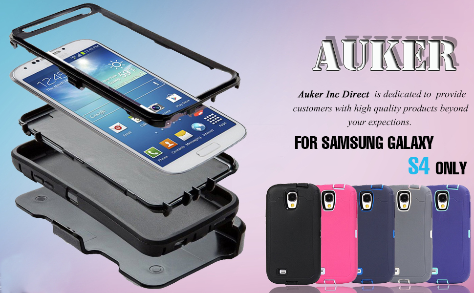 online store f339b 4b3c6 Galaxy S4 Case,S4 Holster Case,Auker 3 Layer Shock Absorption Drop Proof  Scratch Resistant Built-in Screen Protector Full Body Protective Defender  ...