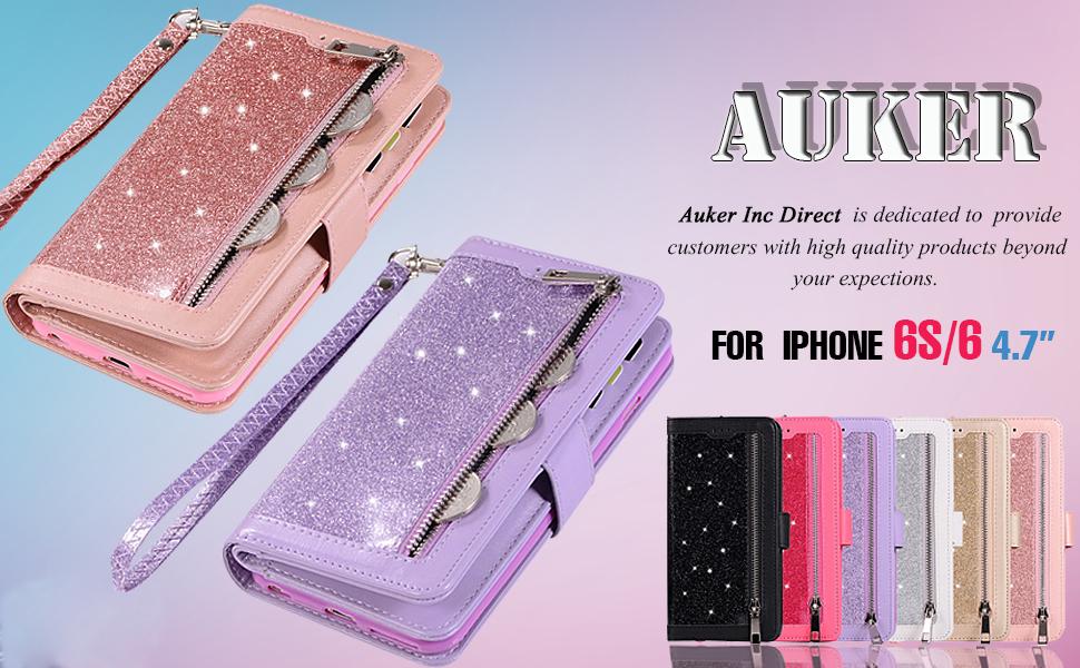 Amazon.com: Auker Girly - Funda tipo cartera para iPhone 6S ...