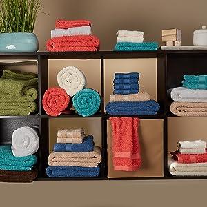 towel, shelf, color, variety
