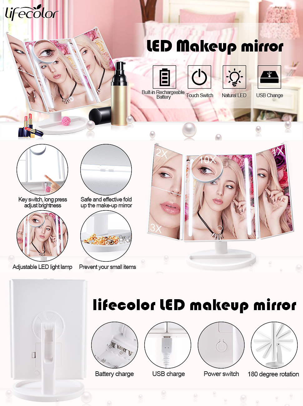 Lifecolor Vanity Makeup Mirror Trifold Natural Led Jacquelle Carousel Beauty Blender Lighted