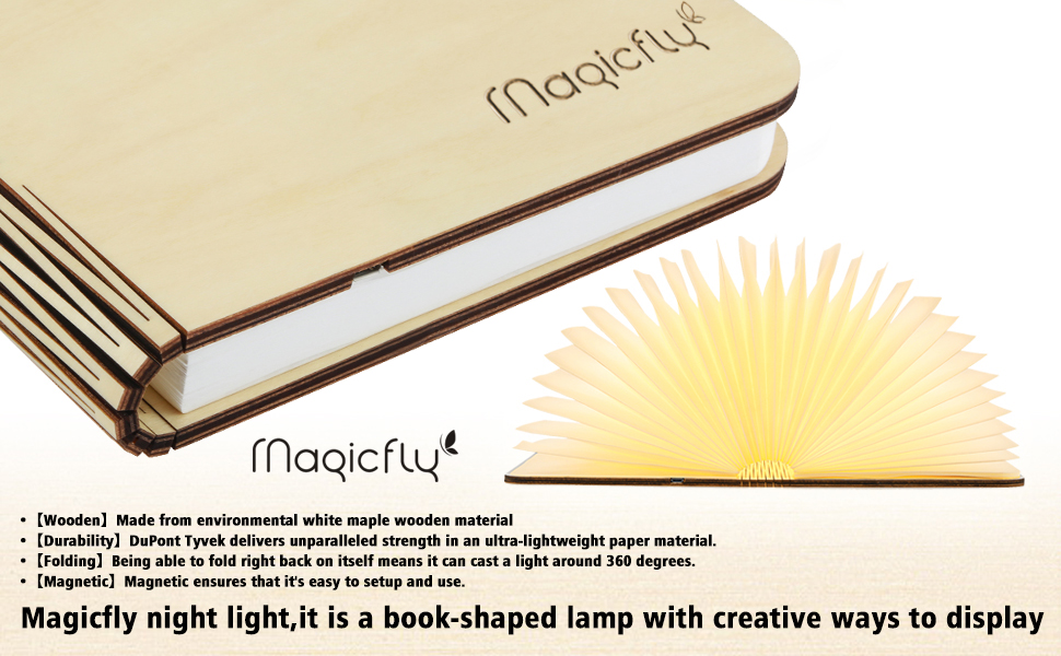 Wooden Folding Book Light, Magicfly USB Rechargable Book Shaped ...