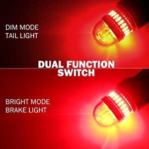 2 Pack VehiCode Bright 950Lms 1157 Red LED Light Bulb Kit 2357 2057 7528 1157A 1034 BAY15D Dual Contact Function Replacement for Car Harley Motorcycle Rear Turn Signal Tail Brake Stop Light Lamp