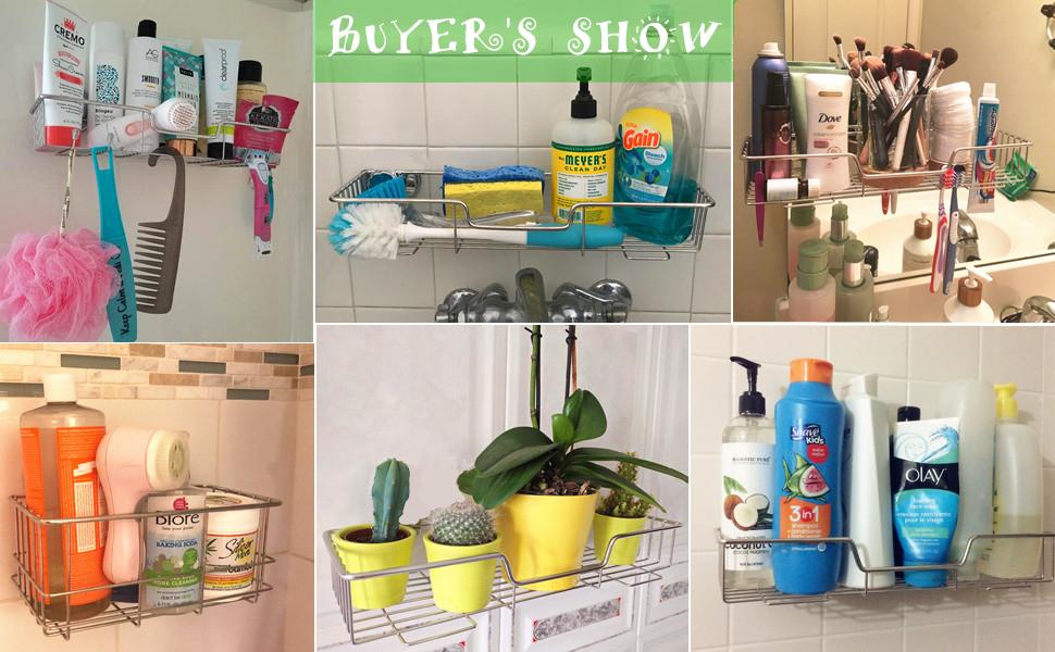adhesive shower cady storage