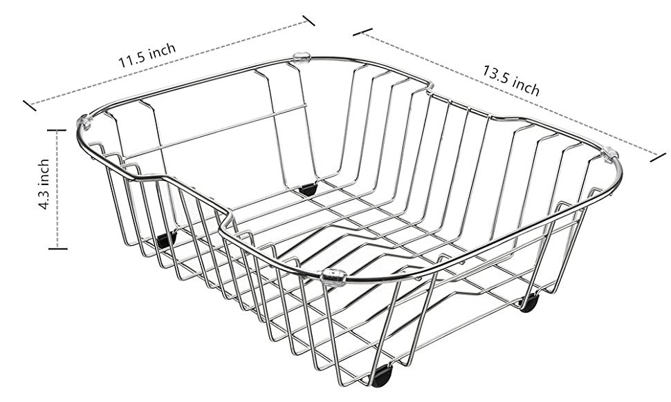 IPEGTOP Small Sink Dish Drying Rack With Rubber Feet, Kitchen Stainless Dish  Drainer Organizer Over/In The Sink For Drying Glasses Bowls Plates