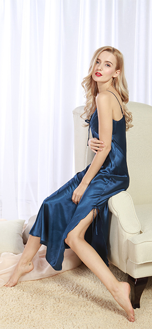 a176e17c98 Iooho Women s Pajamas Satin Nightgown Long Sleeveless Sleepwear Slip Night  Dress