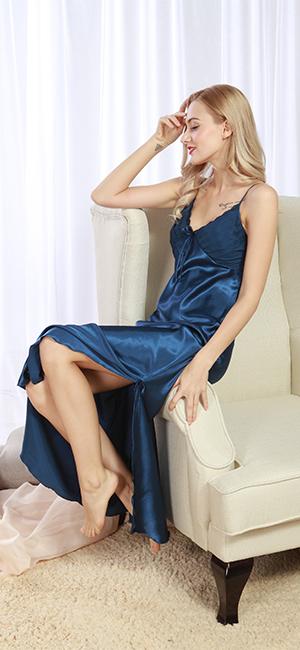 1700b8957d Iooho Women s Pajamas Satin Nightgown Long Sleeveless Sleepwear Slip Night  Dress. Size Chart  M   Chest-31.5~33.9