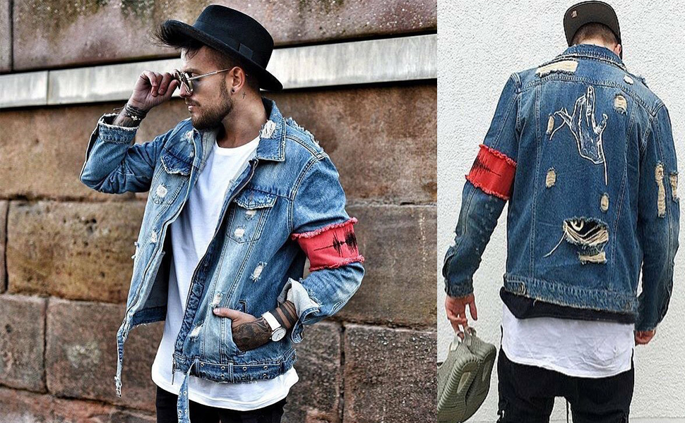 iooho men s denim jacket ripped distressed jeans jacket rugged