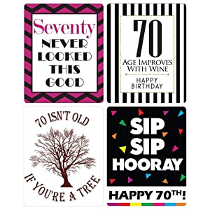 Pack Includes 4 Unique Designs The Perfect 70th Birthday Gift Our X 5 Inch Adhesive Labels Will Fit Most Standard Wine Bottles