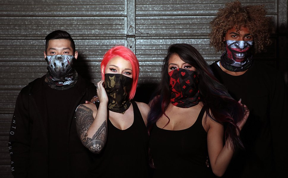 group wearing halloween inspired seamless mask bandanas