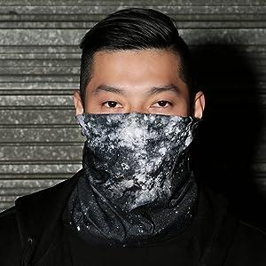 into the am model wearing space minimalist seamless mask bandana