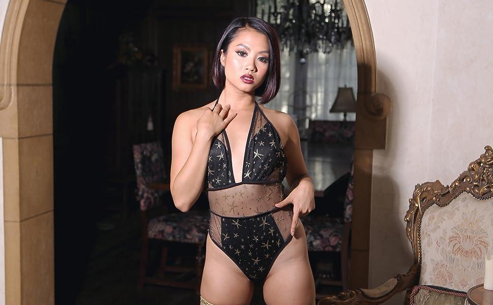 921ea230b0 iHeartRaves Women s Mesh Sleeveless Plunging Glitter Sheer Bodysuits