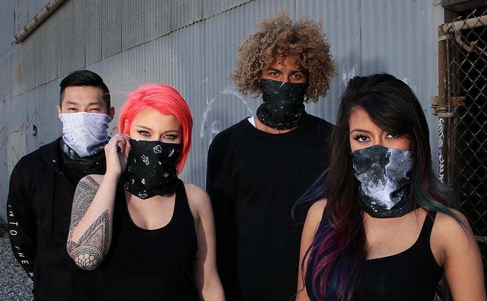 group wearing INTO THE AM galaxy seamless mask rave bandanas