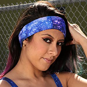 into the am model wearing stardust seamless mask bandana as hair band