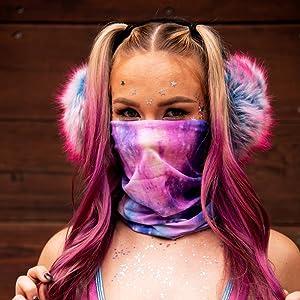 iHeartRaves Model wearing seamless rave mask bandana