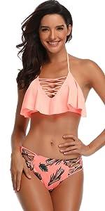 Cross Ruffled Bikini