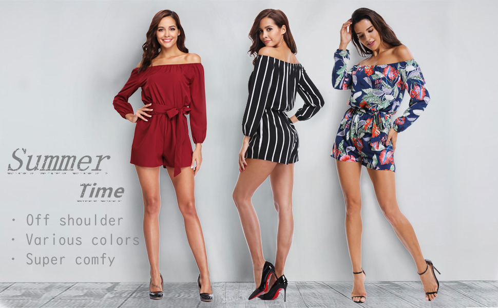 9b28eb32be42 MISS MOLY Jumpsuit for Women Off Shoulder 3 4 Sleeves Striped Strapless Sexy  Cute Casual Summer Rompers Playsuits