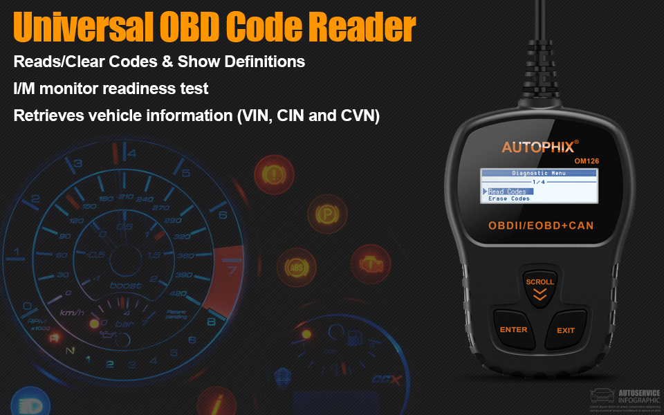 AUTOPHIX Code Reader Car Diagnostic Tool, OBD2 Scanner Engine Analyzer for  Vehicle Check Engine Light with Auto Scanner Battery Voltage Test (OM123)
