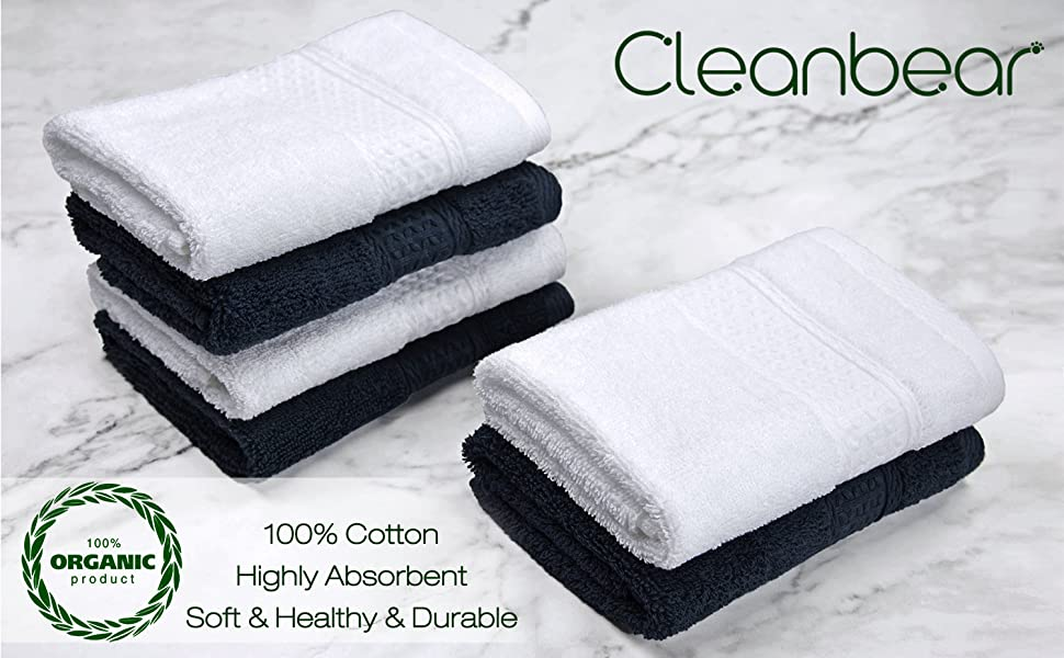 Amazon Com Cleanbear Extra Soft Wash Cloths Washcloths Set 6 Pack 13 X 13 Inches Highly Absorbent Facecloths Dark Gray White Kitchen Dining