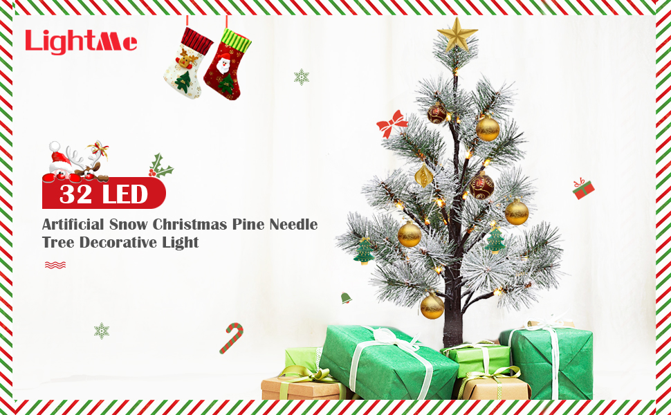 lightme 32 led artificial snow christmas pine needle tree decorative light - Snowing Christmas Decoration