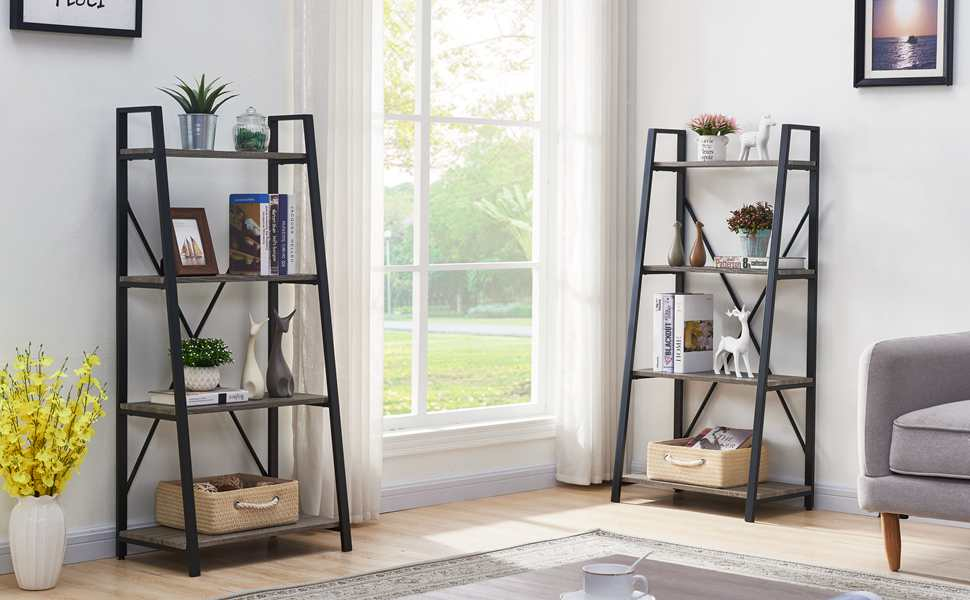 Amazon Com Bon Augure Ladder Shelf 4 Tier Leaning Industrial Bookshelf Rustic Wood Metal