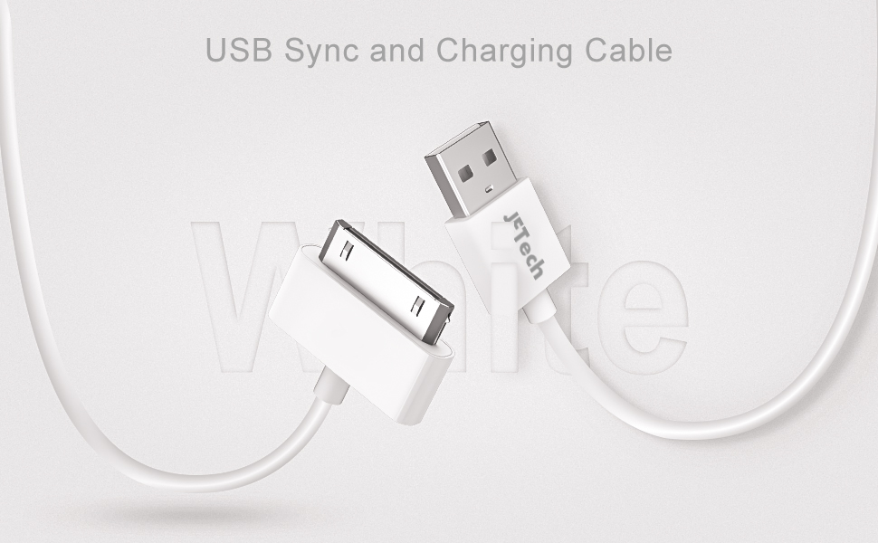 JETech USB Sync and Charging Cable for iPhone 4/4s, iPhone 3G/3GS, iPad 1/2/3, iPod, 3.3 Feet (White)