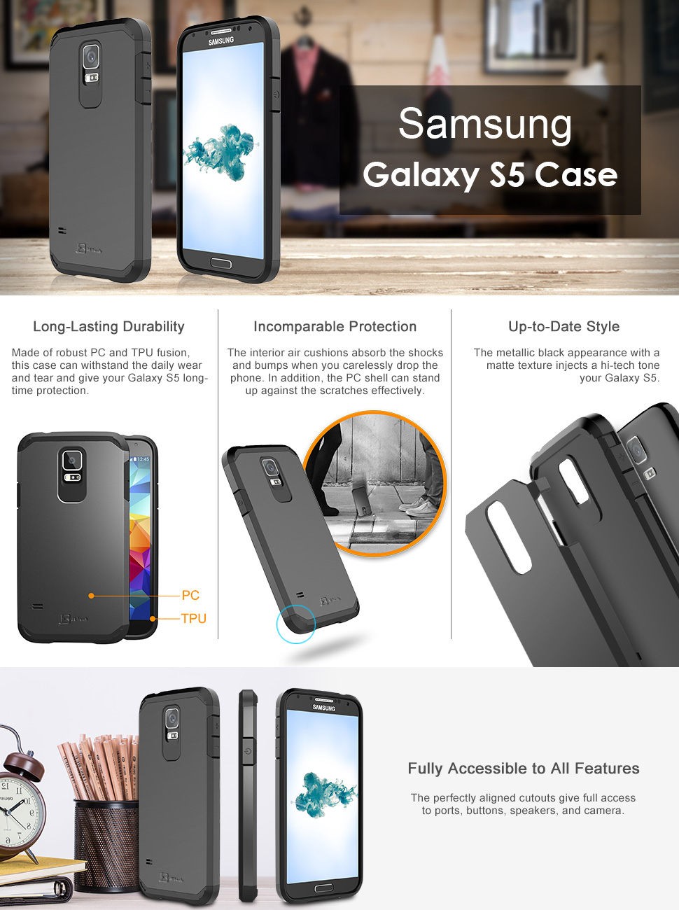 jetech case for samsung galaxy s5 protective. Black Bedroom Furniture Sets. Home Design Ideas