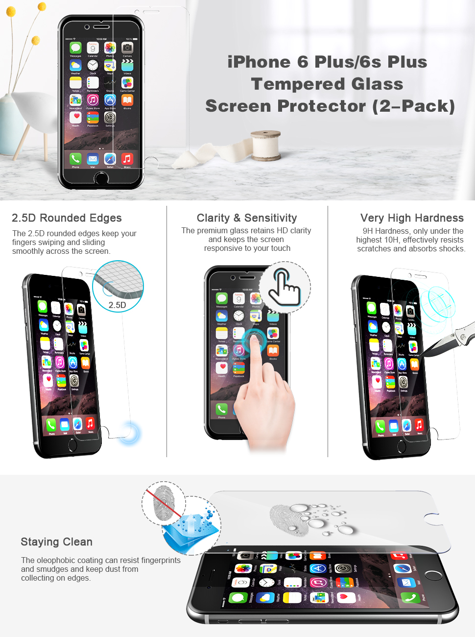 jetech 2 pack screen protector for apple. Black Bedroom Furniture Sets. Home Design Ideas