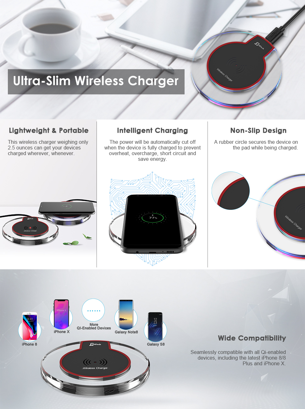jetech wireless charger charging pad for. Black Bedroom Furniture Sets. Home Design Ideas