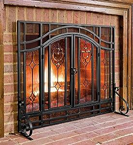 amazon com large beveled glass diamond fireplace screen with rh amazon com beveled leaded glass fireplace screen beveled glass fireplace screens