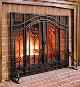 Amazon small beveled glass diamond fireplace screen with the decorative tempered glass panels alternate with mesh screening so you can watch the flames through cut glass and still enjoy the heat from your fire planetlyrics Choice Image
