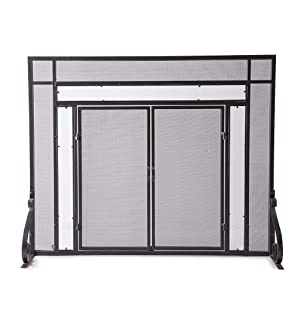 Amazon.com: Large Fireplace Screen with Hinged Magnetic Doors ...