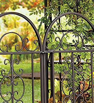 Plow Hearth Montebello Decorative Garden Arbor Trellis With Gate Scroll Design Tubular Iron Structure With 7 Inch Ground Stakes 53 W X 23 D X 84