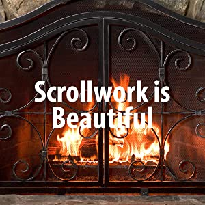 Amazon.com: Plow & Hearth Crest Small Fireplace Screen with Doors ...