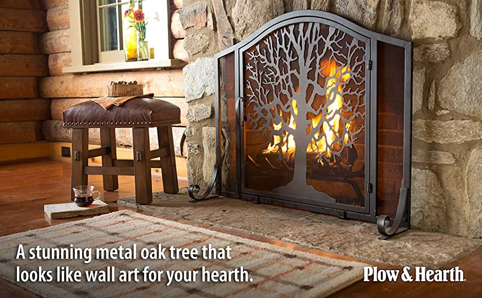 Amazon.com: Large Tree of Life Metal Fireplace Screen with ...