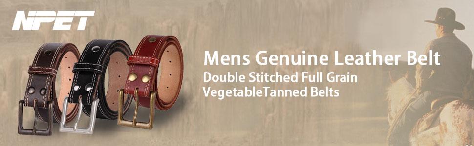 Mens Leather Belt Strap Double Stitched Genuine Full Grain Vegetable Tanned Belt