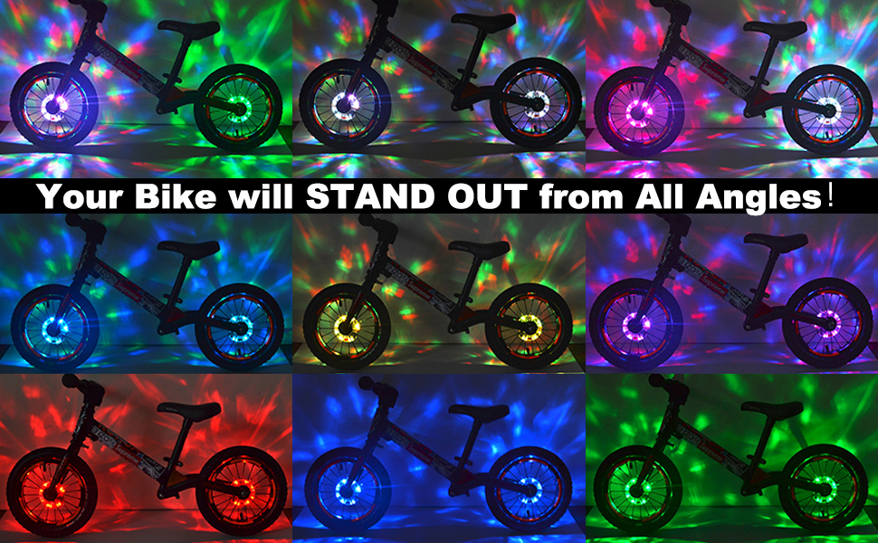 DAWAY Rechargeable Bike Wheel Lights, Super Bright, Be Cool, Be Safe, Be Seen. Fun Kid's Gift!