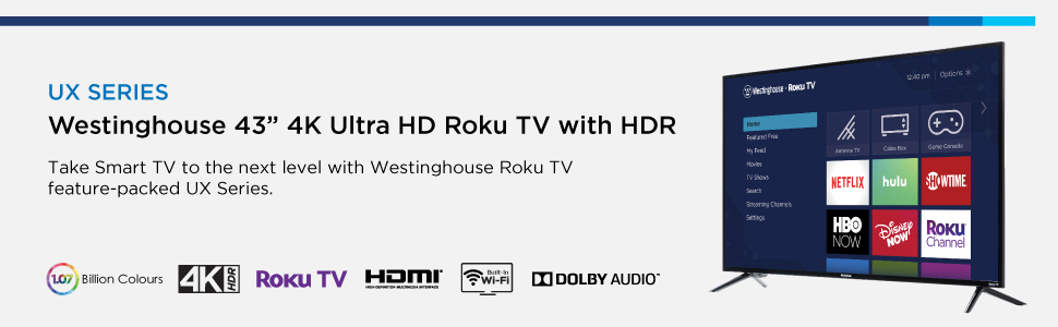 Westinghouse, Roku, TV, 43 inch, 4k, UHD, smart, wifi, streaming, disney now, hbo, Netflix, HDR