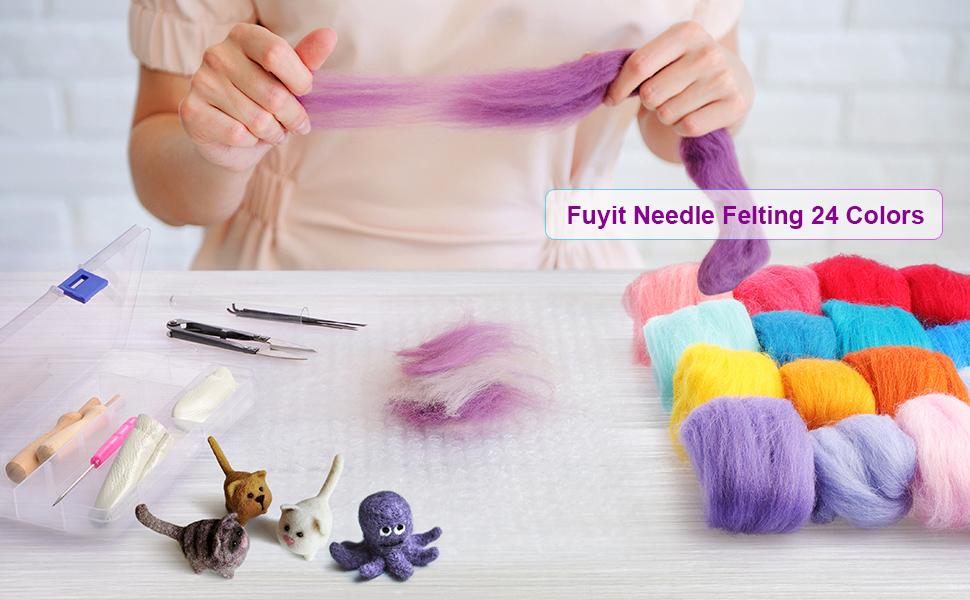 24 colors felting wool