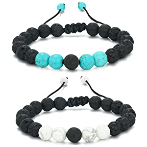 Lava Stone Rock Bracelet Aromatherapy Anxiety Essential Oil Diffuser Yoga Bangle