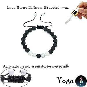 Lava Stone Rock Bracelet Aromatherapy Anxiety Essential Oil Diffuser Yoga Bangle for Women men